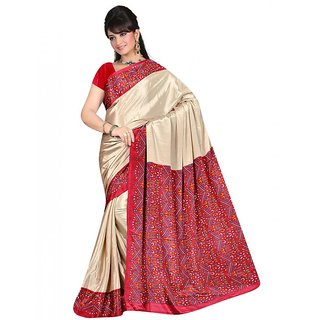 DesiButiks Beige Crepe Printed Saree With Blouse