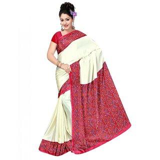 DesiButiks Cream Crepe Printed Saree With Blouse