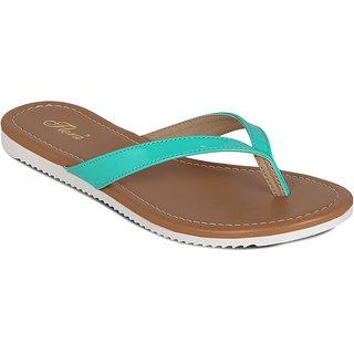 Flora V Shape Green Flat Sandal