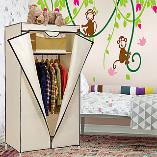 Kawachi Collapsible foldable folding almirah cloth wardrobe cupboard Beige available at ShopClues for Rs.1490
