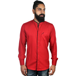 Verzari MenS Solid Chinese Collar Red Shirt
