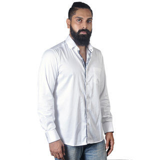 Verzari MenS Solid Party Wear White Shirt
