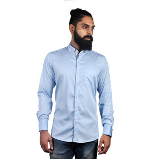 Verzari MenS Solid Party Wear Sky Blue Shirt