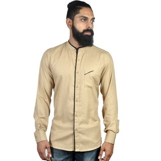Verzari MenS Solid Chinese Collar Beige Shirt
