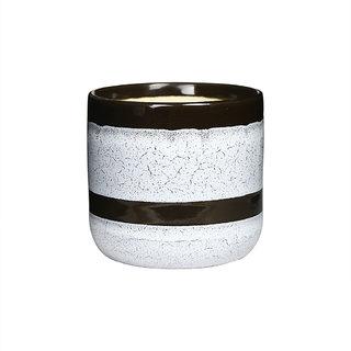 Planter Vase Ceramic/Stoneware In White Black Crackle (1 Pc) Handmade By  Caffeine