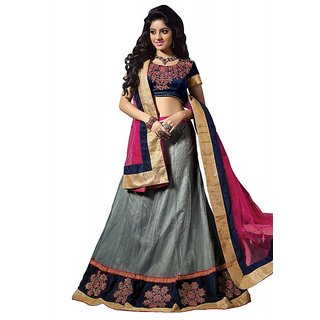 Aaina Grey Net Embrodried Bridal Lehenga (AN1023)
