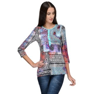 Tunic Nation Womens Printed Poly crepe Round Neck Top