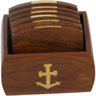 Set of 6 Hand Carved Wooden Bar Coasters  Holder  Fine Polished Anchor Embedded