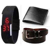 Combo Of Black Led Watch ,Black Belt And Black Wallet