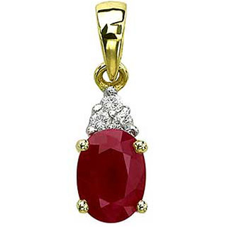 Diamond And Ruby Pendant In Yellow Gold San36