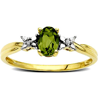 Diamond And Peridot Ring In Yellow Gold San37