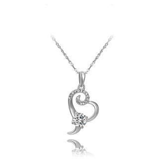 Kaizer Stunning White Gold Plated Heart Pendent