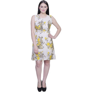 Creame White Base, Yellow flowers Green Leaves Print FLORAL Design