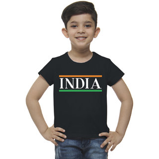 Mandy India Print Boys T-Shirt - Black