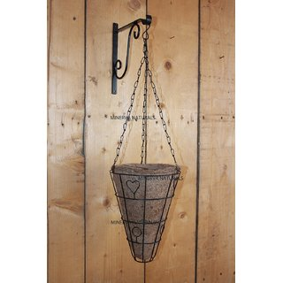 Minerva Naturals - Coir hanging pot cone shape with wall bracket metal (30 cm x 23 cm x 23 cm)