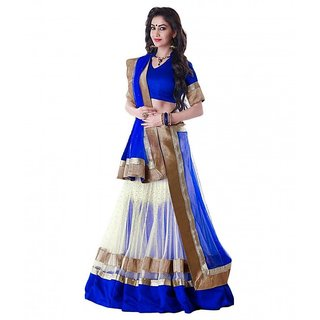 Kapadewala Blue  White  Net  Embroidered  Embelished Lehenga choli