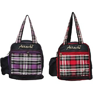 Attache Padded 1 Container Box Set of 2(Blue with red PUPLE) Lunch Bag     (Multicolor 4 L)