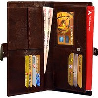 Attache Genuine Leather Travel Passport Case / Card Holder /Cheque Book Holder / Document  Ticket Wallet /Currency Wallet Purse         (Brown) Card-02