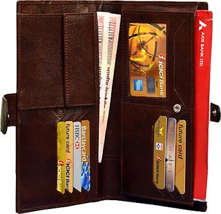 Attache Genuine Leather Travel Passport Case / Card Holder /Cheque Book Holder / Document  Ticket Wallet /Currency Wallet Purse         (Brown) Card-02