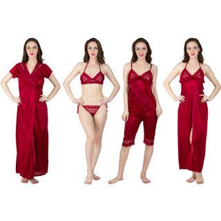 4477dbd6e3 Buy Bombshell Maroon Satin Nightwear 6Pcs Set Of Nighty Robe Top Pajama Bra  Thong Online - Get 2% Off