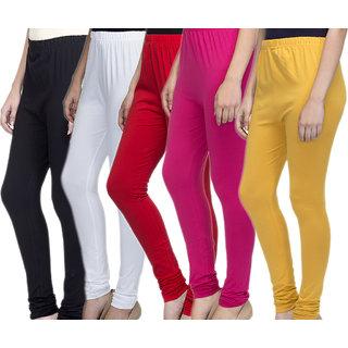 Laabha Women Multicolour Cotton Lycra Churidar Leggings Combo (Pack 5)