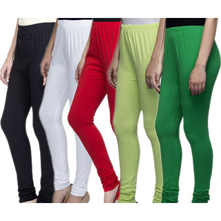 Laabha Women Multicolour Cotton Lycra Churidar Leggings Combo (Pack 5)