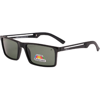 Super-X Polarized Square Sunglasses SXBLKGREEN-1718P