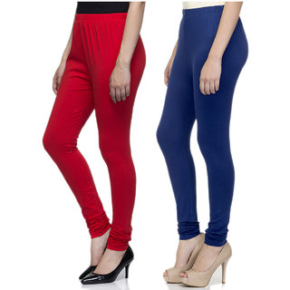 Laabha Women Multicolour Cotton Lycra Churidar Leggings Combo (Pack 2)