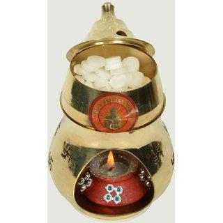 Holy Krishna - Enerzigized Brass Aroma Incense Burner Camphor Lamp For Reiki + Aroma Lamp Oil Burner With Free Holy Krishna Pure Camphor