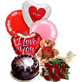 Cake Flower Teddy Combo