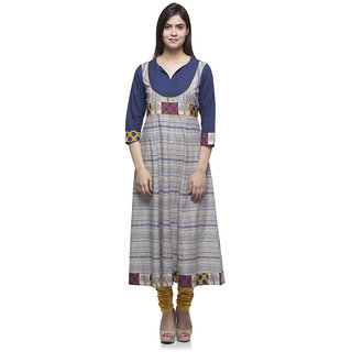 Laabha Womens Cotton Blue Sami Festive Printed Anarkali Kurti