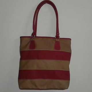 Big sized stripped handbag with a free gift.