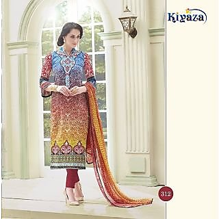 Blue, Yellow and Maroon Printed Glaze Cotton Dress Material (Valley of Flowers-12)