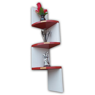 BM Wood furniture wall mount book shelf zigzag shape ( multi color)