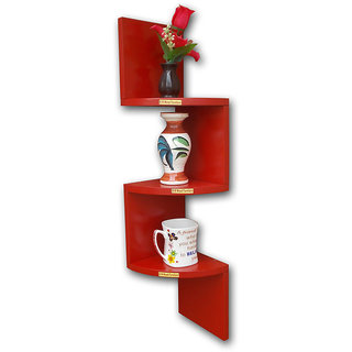 BM WOOD Furniture Wall Mount Book Shelf ZigZag Shape - RED