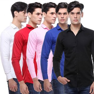VSI Cut Away Full Sleeves Casual Poly-Cotton Shirt For Men Pack Of 5