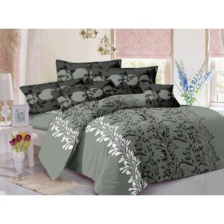 Valtellina Grey  Natural Design Super Soft Cotton Double Bedsheet with 2 CONTRAST Pillow Cover-Best TC 175