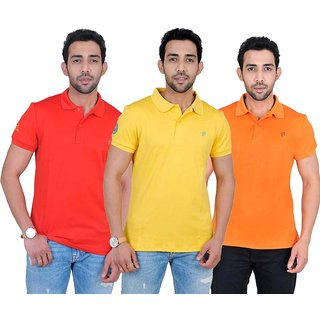Fabnavitas Mens Cotton Slim Fit Polo T-shirt Pack of 3