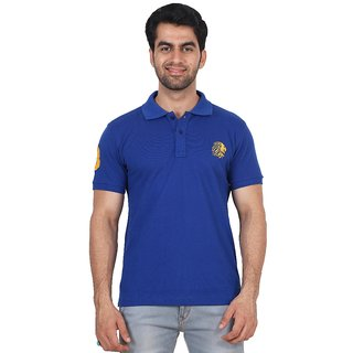 Fashcom Mens Blue Yellow Half Sleeves Polo T-Shirt