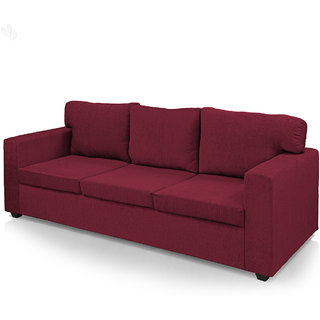 Earthwood -  Polly Fabric Upholstered Three-Seater Sofa Classic - Maroon