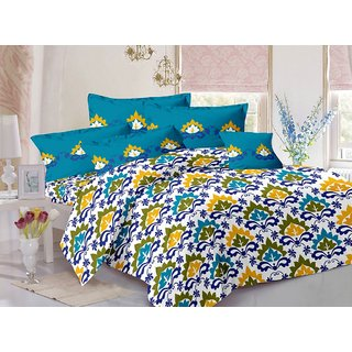 Valtellina Blue  Traditional Design 100 Cotton Double Bedsheet with 2 CONTRAST Pillow Cover-Best TC-175