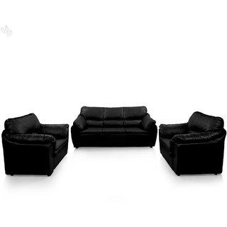 Earthwood -  Lily Sofa Set 3+1+1 Premium Leatherite - Black