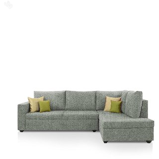 Earthwood -  Lounger Sofa L - Shape Design with Grey Fabric Upholstery - Premium