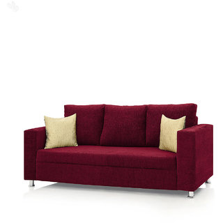 Earthwood -  Fully Fabric Upholstered Three-Seater Sofa - Classic Valencia Maroon