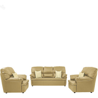 Earthwood -  Sofa Set 3+1+1 with Biscuit Leatherite Upholstery - Premium