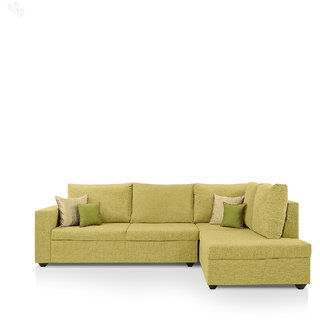 Earthwood -  Lounger Sofa L - Shape Design with Lime Fabric Upholstery - Classic