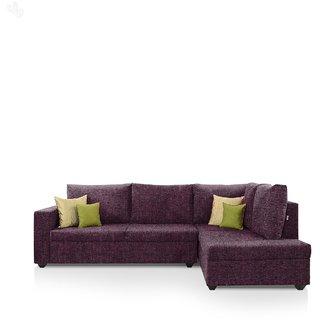 Earthwood -  Lounger Sofa L - Shape Design with Magenta Fabric Upholstery - Premium