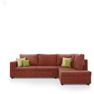 Earthwood -  Lounger Sofa L - Shape Design with Orange Fabric Upholstery - Premium