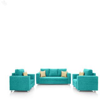 Earthwood -  Fully Fabric Upholstered Sofa Set 3+1+1 - Classic Valencia Sky Blue