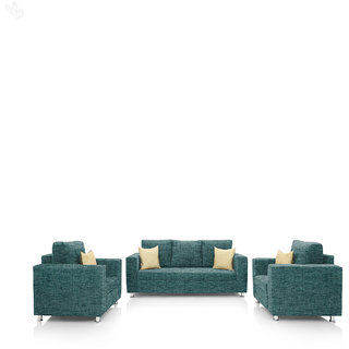 Earthwood -  Fully Fabric Upholstered Sofa Set 3+1+1 - Premium Valencia Teal